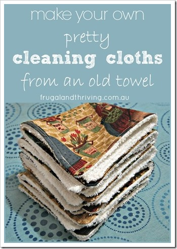 homemade cleaning cloths from an old towel | Frugal and Thrivnig