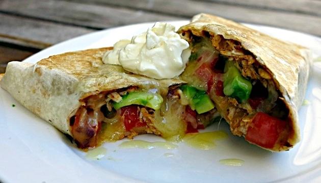 Leftover chicken and bean burrito