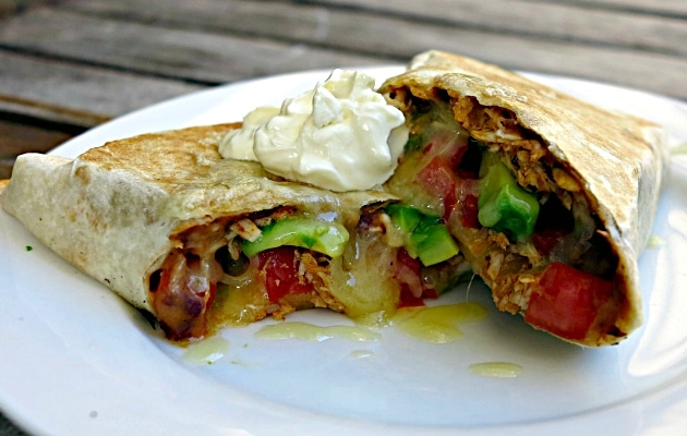stretch your grocery budget with leftover roast chicken burritos