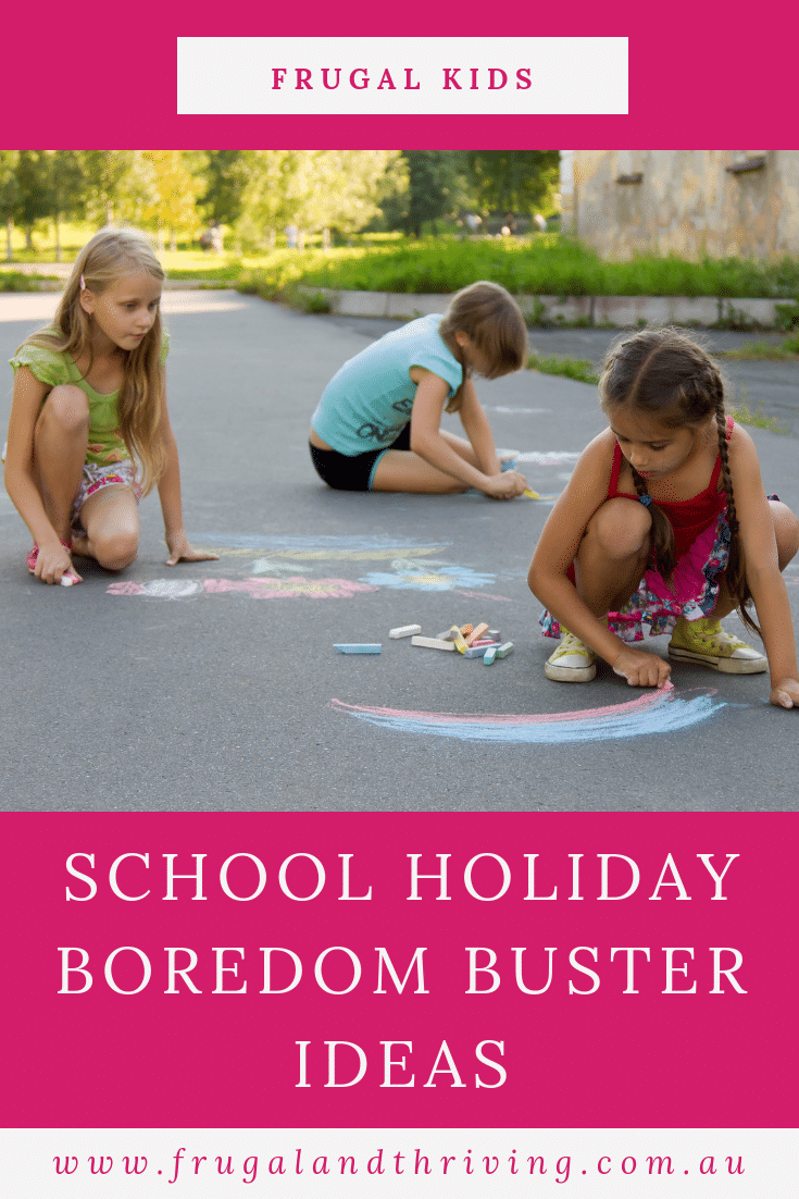 Avoid boredom and too much screen time with these school holiday boredom buster ideas. #frugalkids #schoolholidays