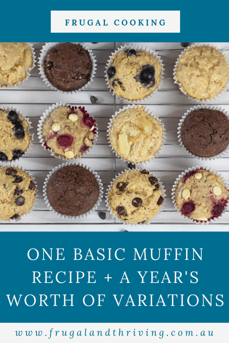 You don\'t need dozens of muffin recipes. Here is a basic muffin recipe with over 50 variations to try. One for every week of the year! #baking #frugalbaking