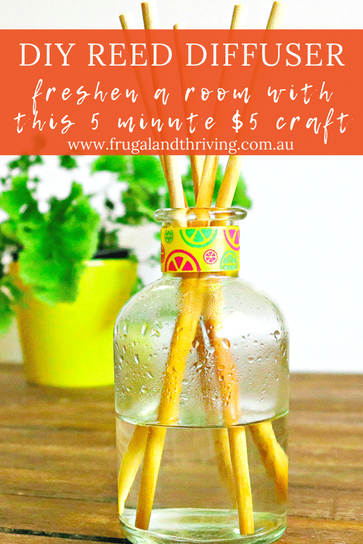 This DIY reed diffuser is a great natural air freshener for your home and it\'s a lot cheaper than store-bought. Freshen your home naturally. #diy