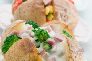 baked potatoes with toppings
