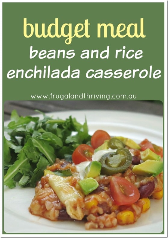 beans and rice enchilada casserole