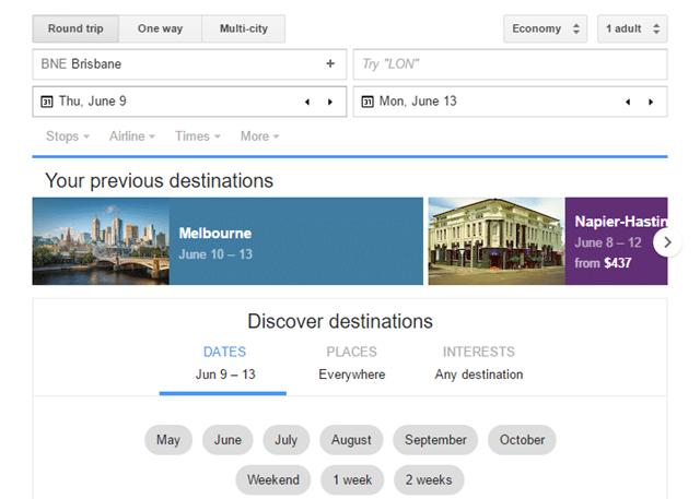 Google Flights discover destinations