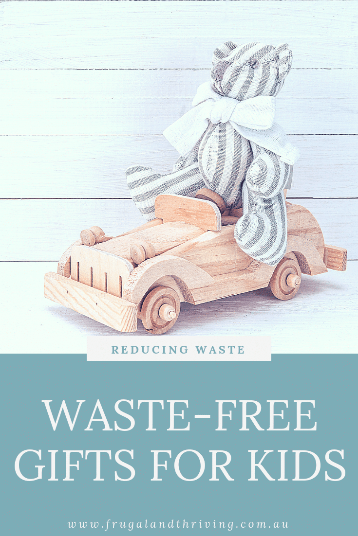 Enjoy gift-giving this Christmas without creating a ton of waste. Here are some low-waste gift ideas for kids for all budgets. #zerowaste #zerowastegiftguide #giftguide #giftguidekids #zerowastekids