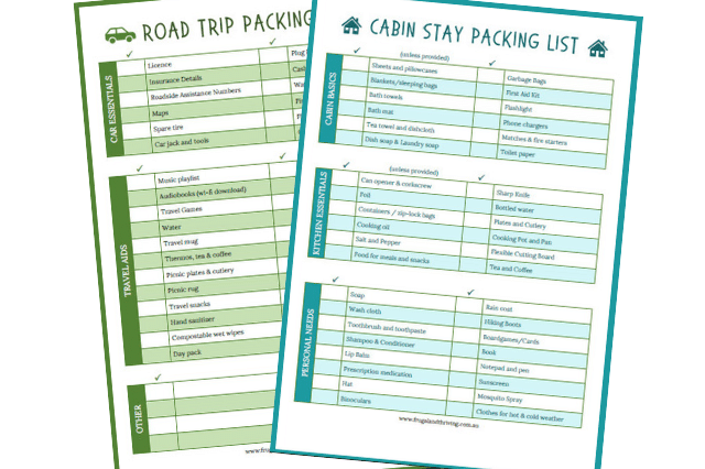 road trip and cabin stay packing list