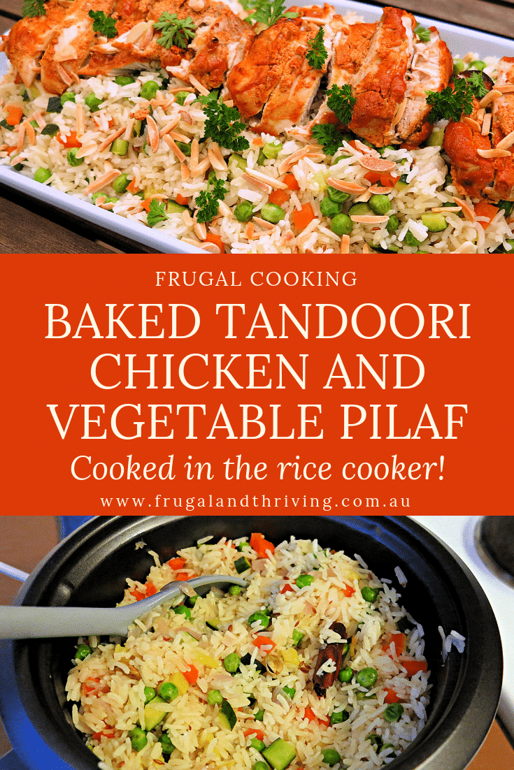 baked tandoori chicken and vegetable pilaf cooked in the rice cooker