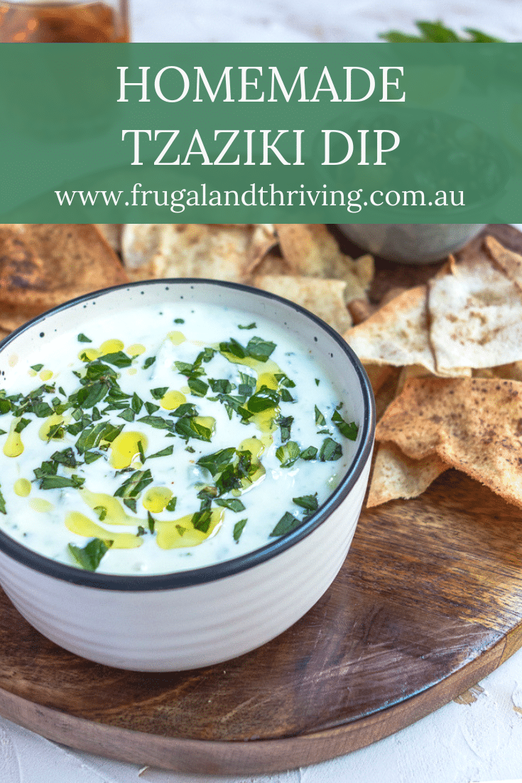 A basic tzatziki dip recipe is a great way to use up plain yoghurt and cucumber. Serve as a dip or use it as a sauce. Here\'s how to make it. #budgetentertaining #budgeteats