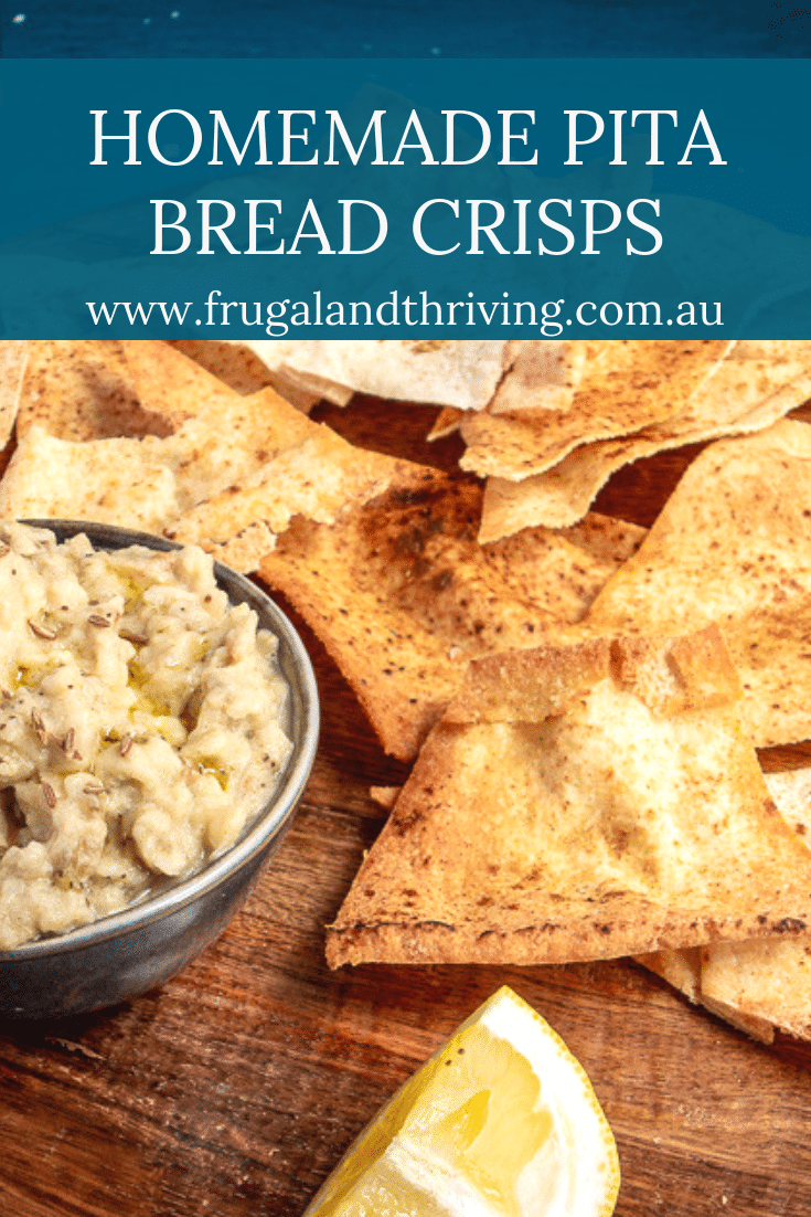 Save on crisps and crackers at your next party with these easy, frugal and versatile homemade pita bread crisps. These are super quick to make and bake! #budgetentertaining #frugalfood #budgetappetizers