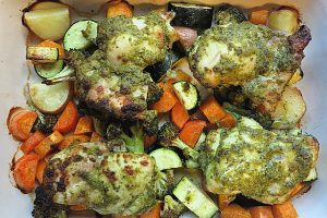 one dish pesto chicken and vegetable bake