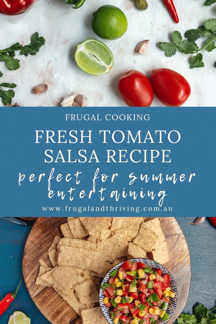 Looking for a quick and tasty dip for entertaining? This fresh tomato salsa recipe can be on the table in under 10 minutes and is always a crowd-pleaser. #frugalcooking #frugalentertaining #budgetentertaining