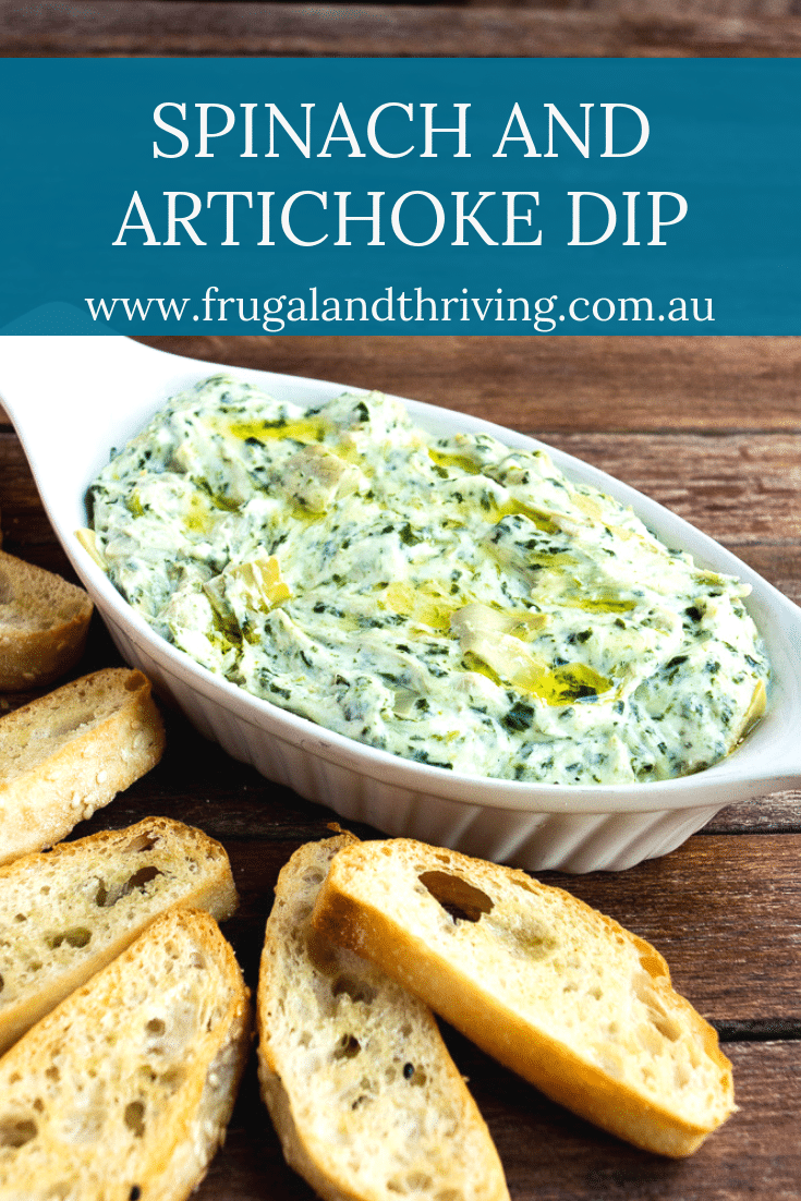 This easy spinach artichoke dip recipe is served warm, perfect for winter. This version is cooked on the stovetop. Served in under 10 minutes! #frugalcooking #frugalentertaining #budgetentertaining #budgetappetizers