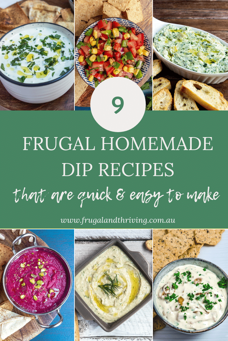 Save money on entertaining by making your own dips. Here are 9 classic and easy homemade dip recipes for your next party platter. #budgeteats #frugalentertaining