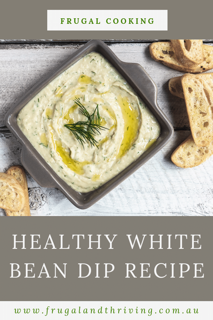 This white bean dip recipe is super quick and frugal, yet surprisingly moreish. Who would have thought a tin of beans could be so addictive? Make this healthy vegan dip in under 5 minutes using pantry staples. #frugalentertaining #frugalappetizers #budgetappetizers