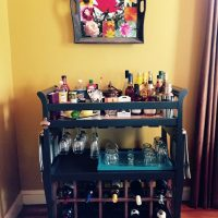DIY Table Makeover - Changing Table Upcycled to a Bar Cart.
