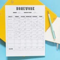 [FREE PRINTABLE] Homework Chart
