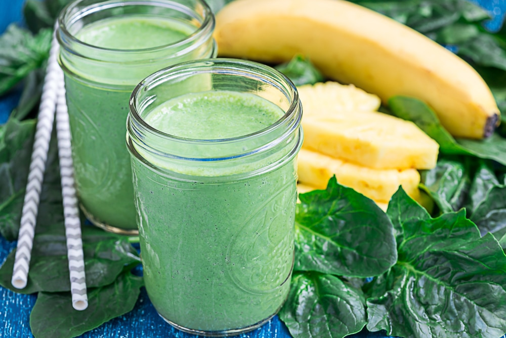 Tropical pina colada green smoothie
