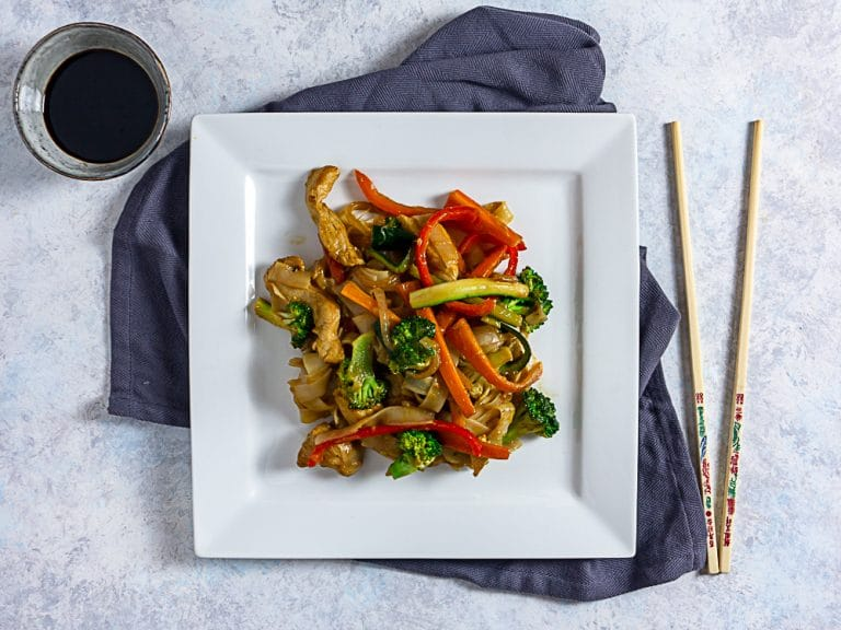 Ginger Chicken Stir Fry Recipe With Veggies and Rice Noodles