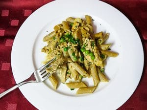 leftover chicken and pea pasta