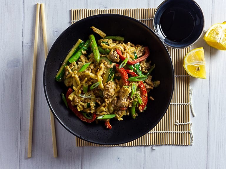 Pork Mince Stir Fry with Peanut Butter and Noodles