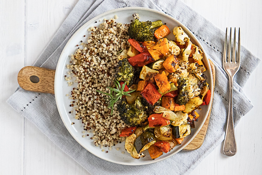 honey balsamic roasted vegetables with quinoa