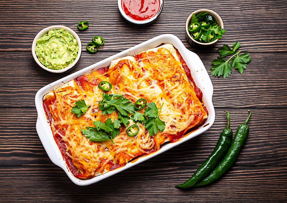 Pulled Pork and Refried Bean Enchilladas | Using leftover slow cooked pork | Frugal and Thriving