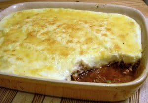 kangaroo cottage pie with cauliflour puree