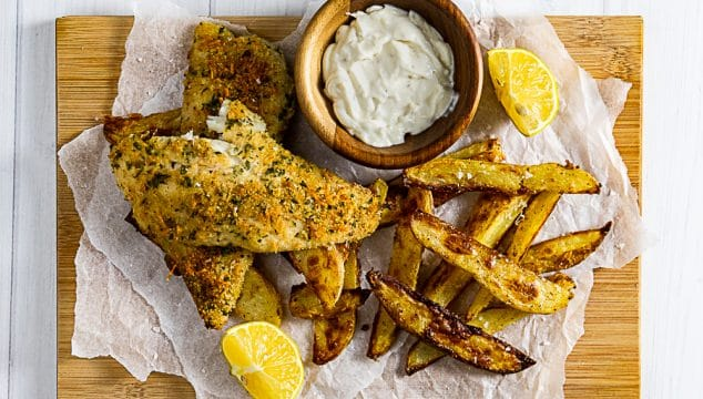 Parmesan crusted oven baked fish and chips