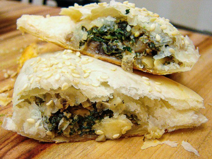silverbeet and musroom pastries