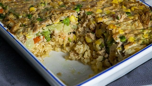 tuna and vegetable slice with rice