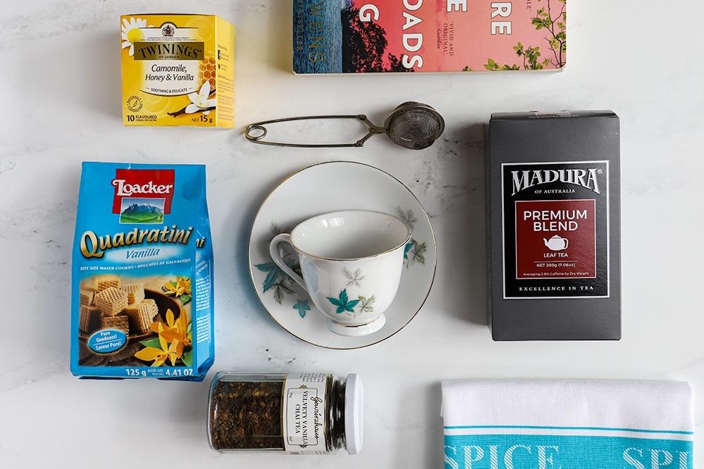 tea hamper flat lay