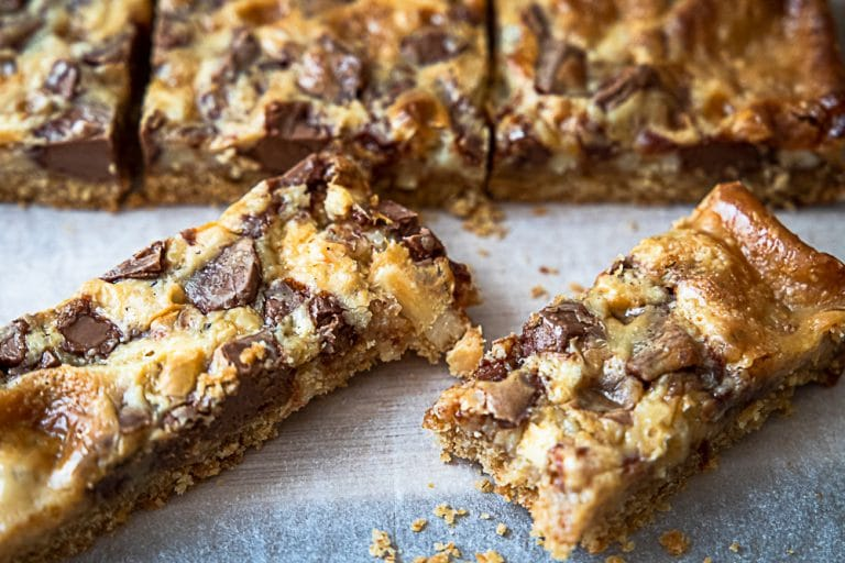 Condensed Milk Slice with Chocolate and Almonds