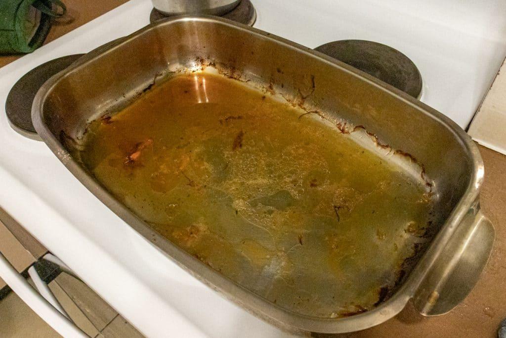 pan juices ready to make gravy